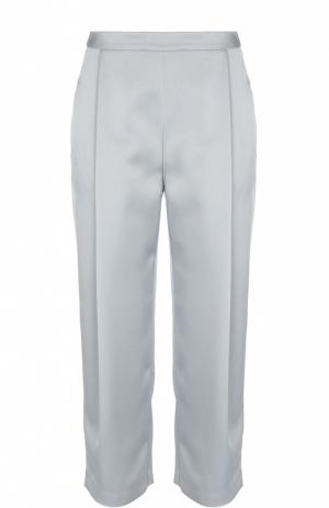 Укороченные прямые брюки с защипами Armani Collezioni. Цвет: голубой