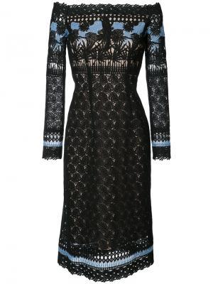 Гипюровое платье с изображением сада Yigal Azrouel. Цвет: чёрный