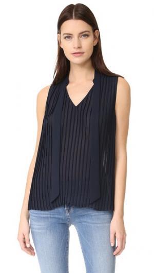 Плиссированная блуза без рукавов FRAME. Цвет: темно-синий