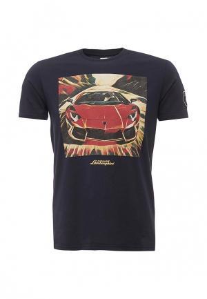 Футболка Automobili Lamborghini. Цвет: синий