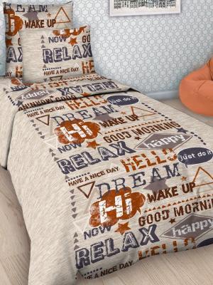 Детский комплект постельного Шрифт, 1,5-спальный, наволочка 50*70, хлопок Letto. Цвет: бежевый
