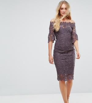 Paper Dolls Tall Платье из кружева кроше с открытыми плечами и оборками на рукавах Pape. Цвет: серый