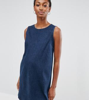 ASOS Maternity Джинсовое цельнокройное платье цвета индиго. Цвет: синий