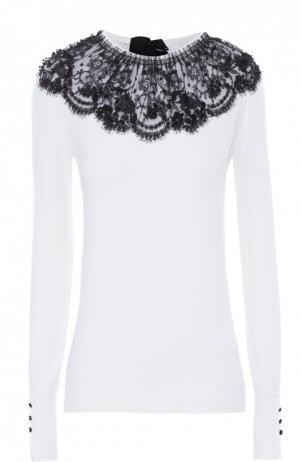 Облегающий пуловер с контрастной кружевной отделкой Oscar de la Renta. Цвет: черно-белый
