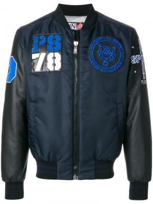 Куртка-бомбер с заплатками Plein Sport. Цвет: синий