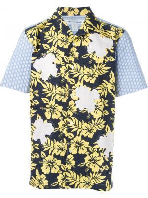 Рубашка с цветочным принтом Comme Des Garçons Shirt. Цвет: синий