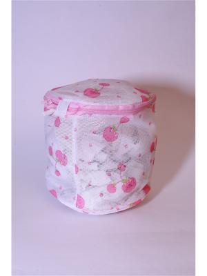 Мешок для стирки нижнего белья, пластик, полиэстер, 15х15х16см, вишня KONONO. Цвет: розовый, белый