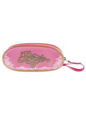 Пенал овальный Принцесса Target. Цвет: фуксия, розовый, золотистый