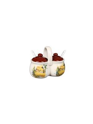 Набор для специй Подсолнухи (2 емкости по 170г) в п/у Elff Ceramics. Цвет: желтый, белый, красный