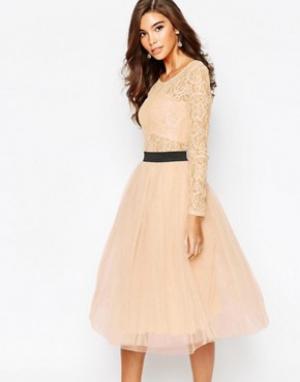 Rare Кружевное платье с контрастным поясом и юбкой из тюля London. Цвет: розовый