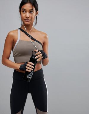 Reebok Серо-коричневый спортивный бюстгальтер на одно плечо. Цвет: бежевый