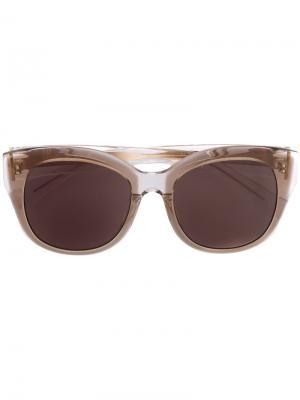 Солнцезащитные очки в круглой оправе Maska. Цвет: коричневый