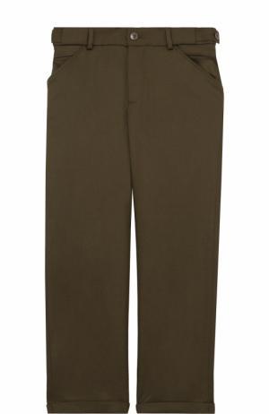Шерстяные брюки прямого кроя с отворотами Loro Piana. Цвет: хаки