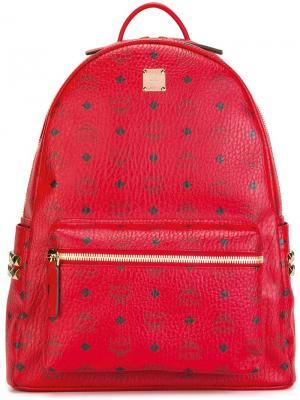 Рюкзак с принтом логотипа MCM. Цвет: красный