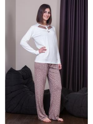 Пижама Oztas underwear. Цвет: светло-коричневый, белый