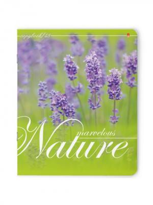 Тетрадь 48л.  весенние цветы 5 видов Альт. Цвет: сиреневый