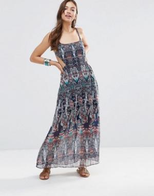 Diya Платье макси с вырезами и принтом. Цвет: мульти