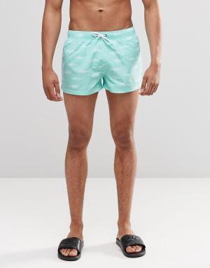 Swells Короткие шорты с принтом акул. Цвет: зеленый