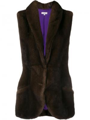 Жилетка с вышивкой интарсия Natasha Zinko. Цвет: коричневый