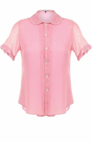 Блуза с коротким рукавом и отложным воротником Jupe by Jackie. Цвет: розовый