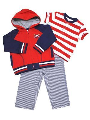 Комплект для мальчика из 3-х предметов Бейсбол Little Me. Цвет: красный, белый, синий