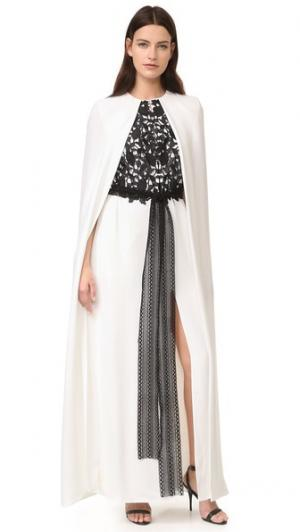 Длинное вечернее платье Monique Lhuillier. Цвет: белый шелк/черный