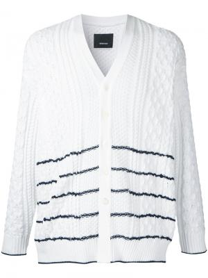 Striped cable knit cardigan 08Sircus. Цвет: белый
