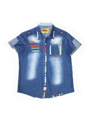 Рубашка Pilota. Цвет: синий, белый, красный
