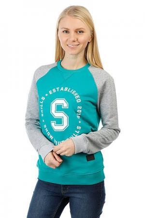 Толстовка свитшот женская  S Crewneck Emerald/Grey Skills. Цвет: серый,зеленый