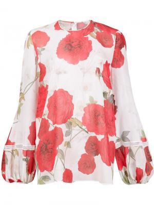 Блузка с цветочным принтом Giambattista Valli. Цвет: белый