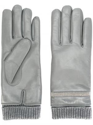 Перчатки с заклепками Fabiana Filippi. Цвет: серый