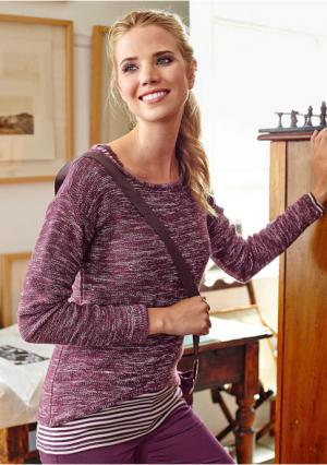 Пуловер CHEER. Цвет: бордовый меланжевый
