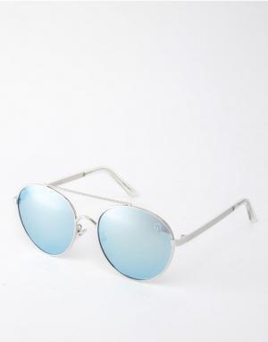 Quay Australia Круглые солнцезащитные очки с металлической планкой Cir. Цвет: серебряный