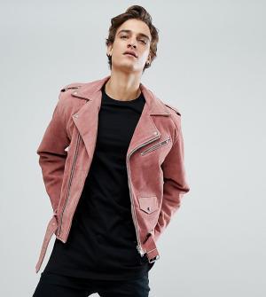 Reclaimed Vintage Замшевая байкерская куртка Inspired. Цвет: розовый