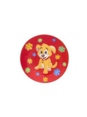 Тарелка декоративная Щенок в цветах на красном Elan Gallery. Цвет: красный, бежевый, голубой