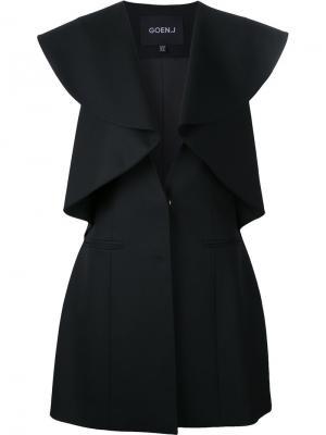 Приталенный пиджак с оборками Goen.J. Цвет: чёрный