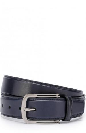 Кожаный ремень с металлической пряжкой Brioni. Цвет: темно-синий