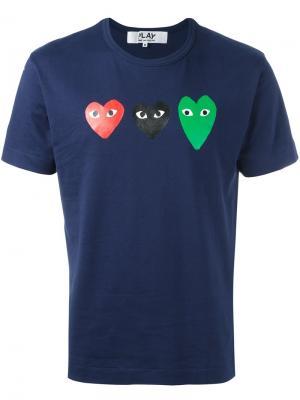 Футболка с принтом сердец Comme Des Garçons Play. Цвет: синий