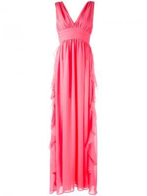 Вечернее платье с V-образным вырезом MSGM. Цвет: розовый и фиолетовый