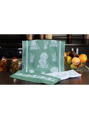 Набор кухонных полотенец ГРИБЫ зелёный (2х3шт.) 40х60 TOALLA. Цвет: зеленый