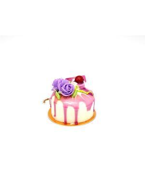 Муляж Пирожное Цветок в асс на подложке,с магнитом,с подвесом,арт.18641 /7х7х6 см Яркий Праздник. Цвет: светло-голубой, молочный, персиковый