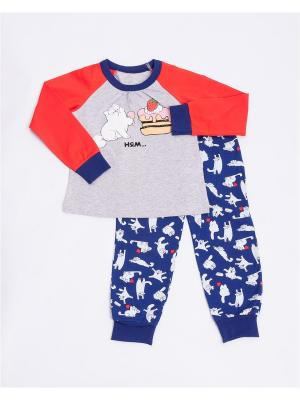 Пижама: лонгслив, брюки Mark Formelle. Цвет: серый меланж, красный