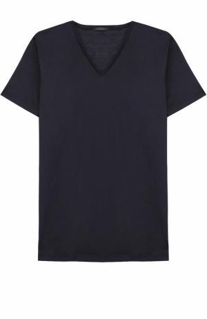Хлопковая футболка с V-образным вырезом La Perla. Цвет: темно-синий