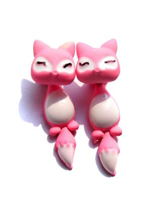 Серьги Лисички Lola. Цвет: розовый