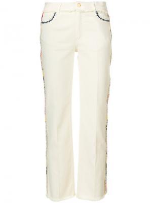 Прямые джинсы с вышивкой Etro. Цвет: телесный