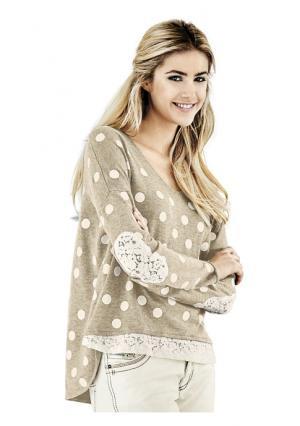 Пуловер Rick Cardona. Цвет: песочный/экрю, серый/экрю