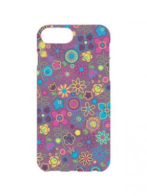 Чехол для iPhone 7Plus Цветочный принт Арт. 7Plus-040 Chocopony. Цвет: фиолетовый, желтый