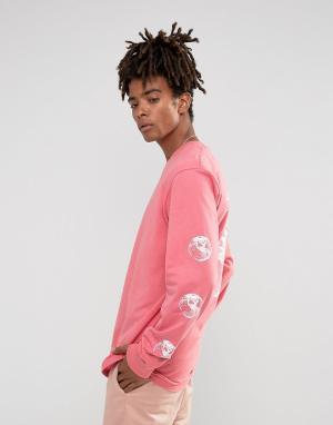 Stussy Розовый лонгслив с надписью Stock World на спине. Цвет: розовый