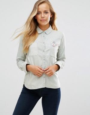 Maison Scotch Рубашка в полоску с вышивкой. Цвет: синий