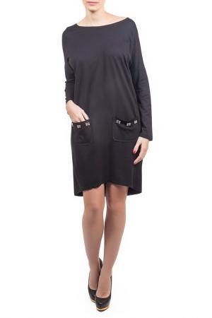 Свободное платье с накладными карманами Piena. Цвет: черный